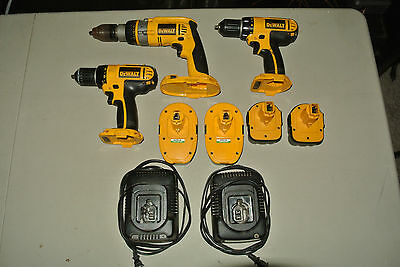 Lot of 3 Dewalt Cordless Drills with 4 batteries and 2 chargers working
