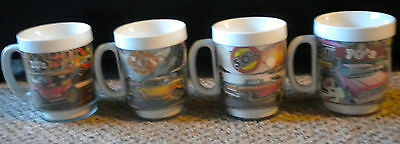 Complete set 4 Chevrolet Chevy Thermo Serv Mugs highlighting the decades / cars