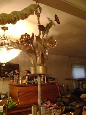 Vintage Art Deco Rhinestone & Brass Ceiling Chandelier Lighting Fixture