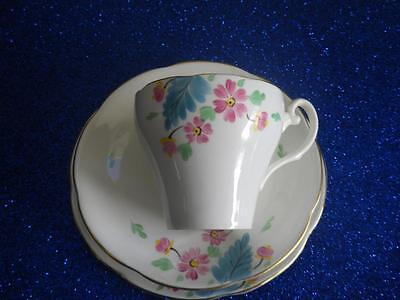 Vintage Adderley Cup, Saucer and Side Plate VGC Pink Flowers Blue Leaf  1950-62
