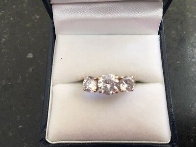 Antique Yellow Gold (375) Three Stone Ring set with Created Diamonds