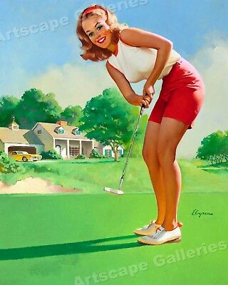 """Golfing Girl"" Vintage Style Elvgren Stawberry Blonde Pin-Up Poster - 16x20"