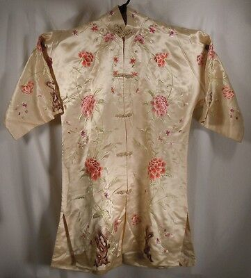 Vintage Chinese Embroidered Silk Robe Jacket