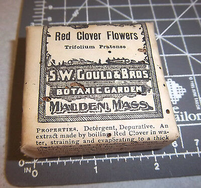 Vintage SW Gould & bros, RED CLOVER FLOWERS, 1900s Pharmacy New unopened box NOS