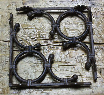 2 Cast Iron Antique Style LIFE RING Brackets, Garden Braces Shelf Bracket Bamboo