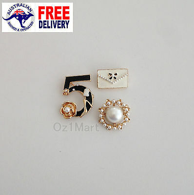 3 PCS/ SET NEW Fashion BROOCH Gold Crystals Pearls Casual Office Pin Gifts