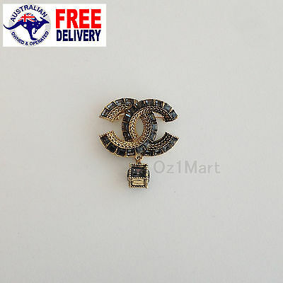 NEW Fashion BROOCH Gold Crystals Swing Dark Gray Casual Office Pin Gift