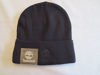 TIMBERLAND KNIT WATCH CAP CUFFED BEANIE BLACK Winter Hat Authentic New NWT