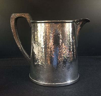 Silverplate--Hammered Arts & Crafts Pitcher--Needs More Polishing--Buy It Now!