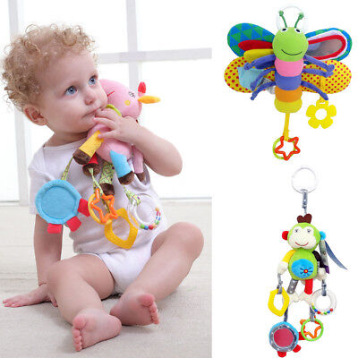 Baby Bed/Stroller Hanging Butterfly Handbell Rattle Teether Musical Soft Toys