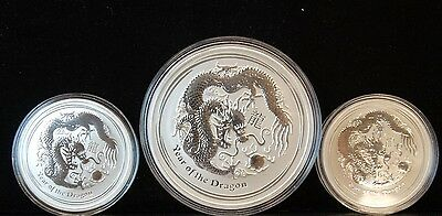 (3pcs) 2013 DRAGON SILVER LUNAR SERIES 2  (7 ozt) TOTAL 1-5oz & 2-1oz AUSTRALIA
