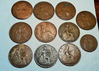 Australia  Lot Of 11 Old Coins  Penny & 1/2 Penny 1914, 1915, 1926, 1929, 1937