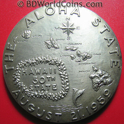 HAWAII 1959 STATEHOOD HIGH RELIEF MEDAL SILVER PLATED BRONZE BOX+PAPER MACO 64mm