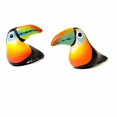 Toucan Figurines Set of 2 Panama Pottery Signed Hand Painted Small