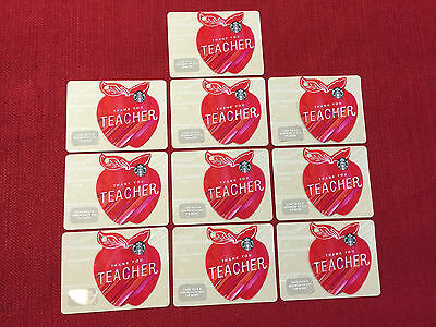 10 New Starbucks 2017 Thank You Teacher Shaped Apple Gift Cards Lot Very Limited