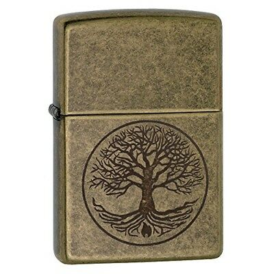 Pocket Lighter Zippo Tree of Life Antique Brass Windproof Refillable Durable