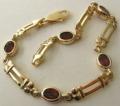 GENUINE  9K  9ct  SOLID  Gold  NATURAL  OVAL  GARNET  Bracelet