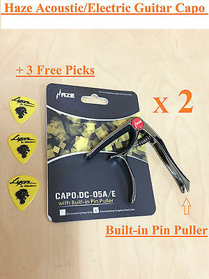 2 X Haze SingleHanded Acoustic/Electric Guitar Capo,Tungsten Steel Color+3 Picks