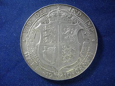 GREAT BRITAIN - 1910 Edward VII HALFCROWN - old cleaning - VF-XF