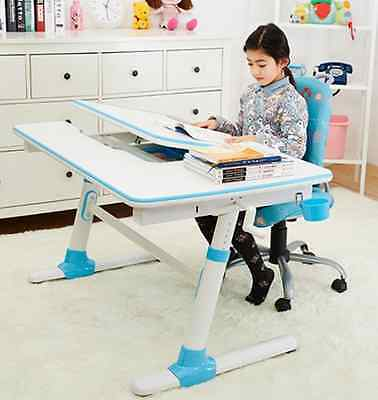 Ergonomic Enlarged Surface Desk,w/L-shaped Split Desktop,Castors Feets,Blue,E502