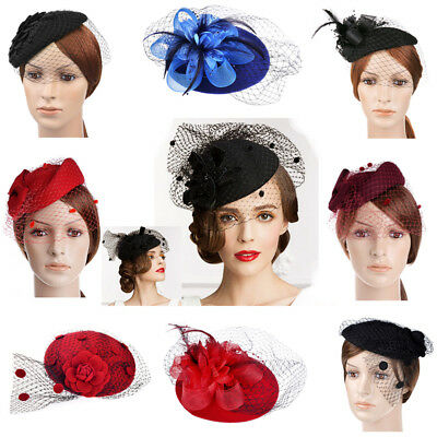 US Hot Womens Elegant Fascinator Wool Felt Pillbox Hat Party Wedding Veil Style