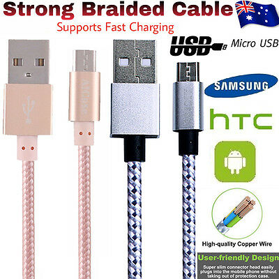 Micro-USB Strong Braided Heavy Duty USB Charger Cable For Android Samsung Galaxy