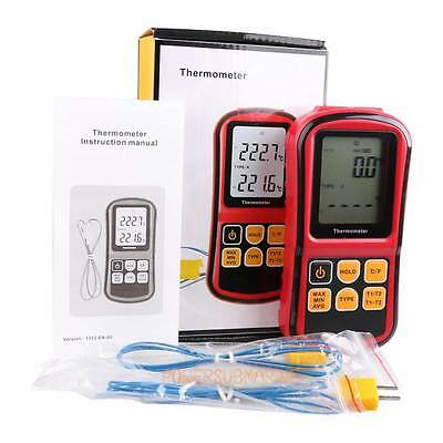 Dual Two 2 K-Type Digital Channel Thermometer Thermocouple Sensor Meter °C/°F