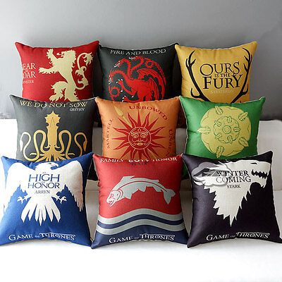 "Game of Thrones Sigils 17"" House Home Decorative Pillow Cushion Covers Case"