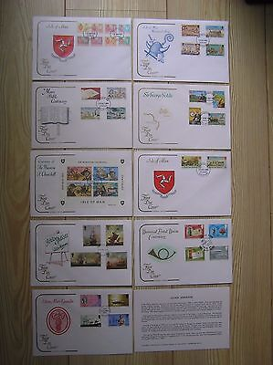 A JOB LOT OF NINE VARIOUS 1970s COTSWOLD FIRST DAY COVERS: ISLE OF MAN SETS: VGC