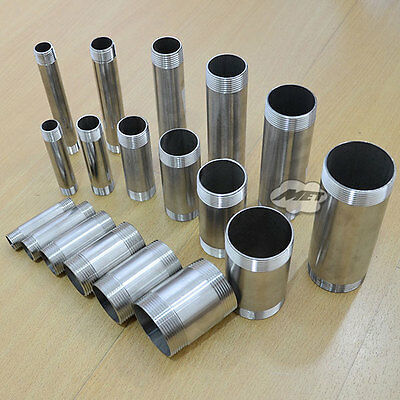 """1/2""""-2"""" Male Stainless Steel 304 Threaded Pipe Fitting SS304 L-75 100 150mm BSPT"""