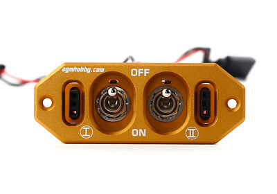 Heavy Duty Alloy Dual Power Switch with Dual Fuel Dots for RC Gold  blue Red J01