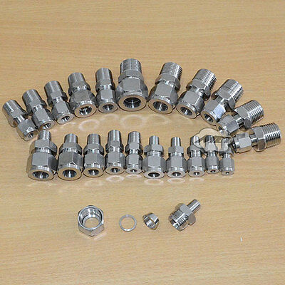 "BSPT Male 1/4""-1/2"" Compression Pipe Fittings Stud Connector Double Ferrule 304"