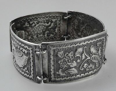 Antique Burmese?? Silver Bracelet Embossed Fish+Animal Decoration