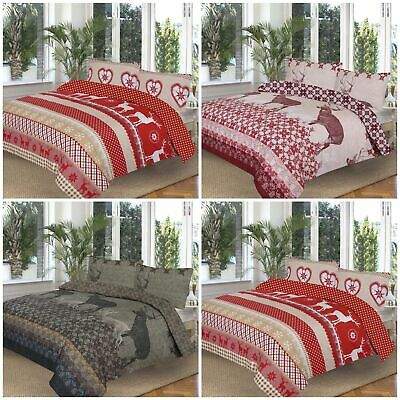 Chalky Brown Reversible Duvet Bed Quilt Cover Set &Pillowcase Single Double King