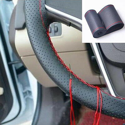 """38cm 15"""" Car DIY Leather Steering Wheel Cover protect Car Needles and Red Thread"""