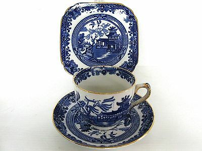 Burleigh Ware Blue Willow Trio Cup, Saucer and Plate