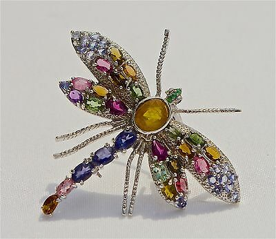 A Large Gemstone Dragonfly Brooch Pin