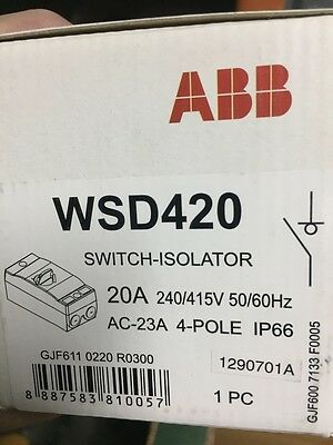 ABB Isolator Switch WSD420 4-Poles IP66 Surface Mount,Turn Button,White- 20A