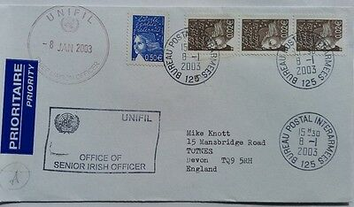 2003 United Nations Forces In Lebanon Inter Army Post Office Cover + Irish Mark