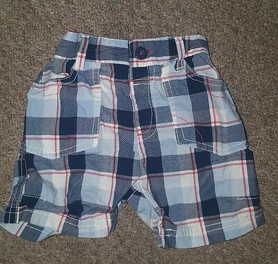 Baby Boys Blue Red Checked TU Shorts 3-6 months