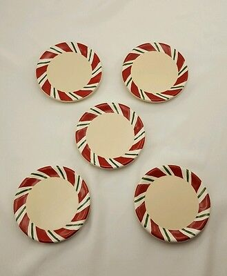 Longaberger Peppermint Twist Coasters Set of 5 Christmas Candy Cane Free Ship