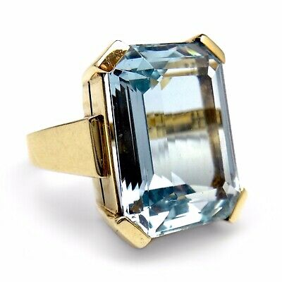 ART DECO GOLD AQUAMARIN RING 18,30 ct  ZERRENNER PFORZHEIM 1930er JAHRE