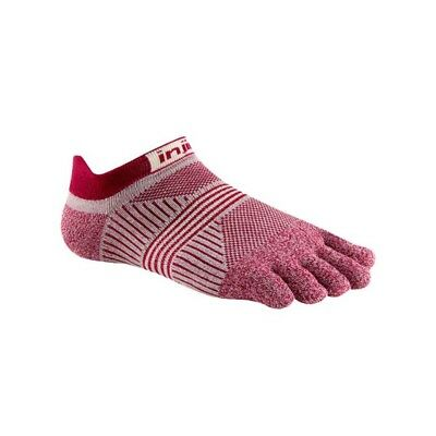 Injinji Women's Run Lightweight No-Show Xtralife Coolmax Toe Socks, Cherry, XS/S