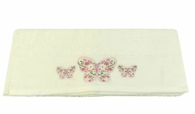 4 Pce Set Cream Embroidered Butterfly Cotton Soft Absorbant Hand & Bath Towel