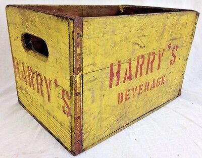 Vintage Harry's Beverage Yellow Wood Crate PA 1946 Advertising Box soda decor
