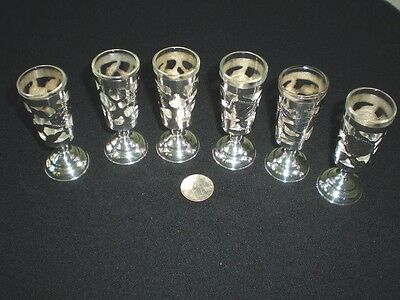 6 Taxco Sterling Silver Floral Overlay Cordial Shot Glasses With Glass Mexico