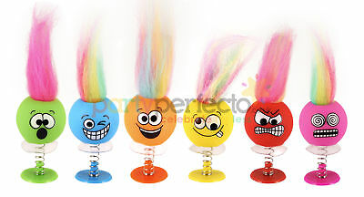 6 Smiley Faces With Hair Jump Ups - Pinata Toy Loot Party Bag Fillers Kids