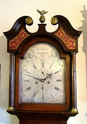 Lovely Georgian Oak Edinburgh Silvered dial Longcase Grandfather clock C1790
