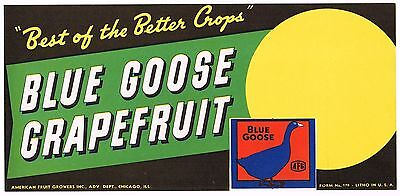 Orange Crate Label Rare Half Box Blue Goose C1950 Grapefruit Chicago Genuine