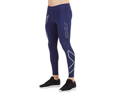 Men's 2XU Hypnotik Thermal Compression Tights - Navy/Silver Reflective